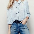 Bow-Accent Striped Chiffon Blouse 1596