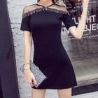 Mesh Panel Short-Sleeve A-Line Dress 1596