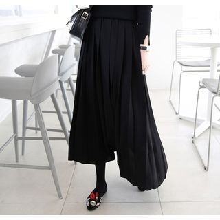 Band-Waist Pleated Long Skirt 1055453431