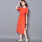 Elbow-Sleeve Tie-Waist Chiffon Dress 1596
