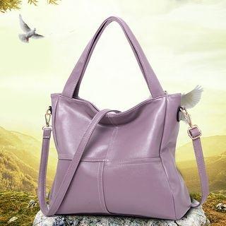 Faux-Leather Plain Tote Bag 1060952790