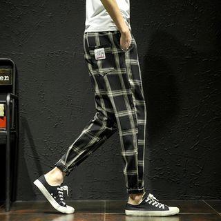 Applique Plaid Pants