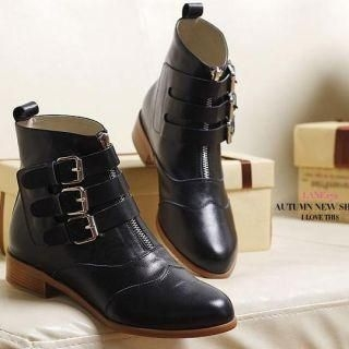 genuine-leather-buckled-short-boots