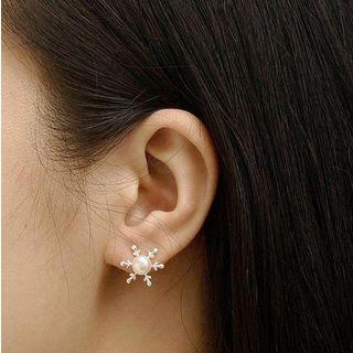 S925 Sterling Silver Faux Pearl Snowflake Earrings