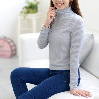 Image of Ribbed Turtleneck Sweater