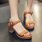 Block Heel Studded Sandals Yellow - 41 от YesStyle.com INT
