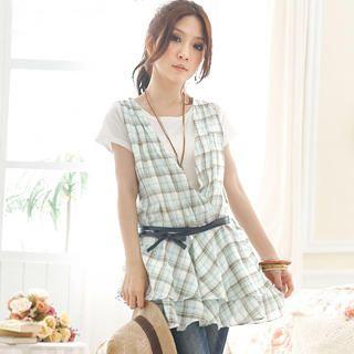 Buy Tokyo Fashion Set: Inset T-Shirt Sleeveless Plaid Mini Dress + Belt 1022972692