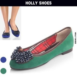 Buy Holly Shoes Beaded Front Faux-Suede Flats 1023049202