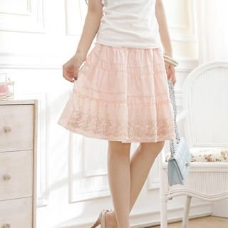 """Buy Tokyo Fashion Embroidered """"Bow"""" Tiered Skirt 1022972786"""