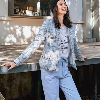 Image of Collarless Wool Jacket