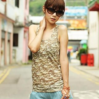 Picture of 59 Seconds Camouflage Racerback Tank Top 1022071412 (59 Seconds Tees, Womens Tees, Hong Kong Tees, Causal Tops)