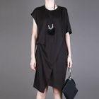 Short-Sleeve Round-Neck Midi Dress 1596