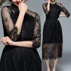 Elbow-Sleeve Lace Midi Dress 1596