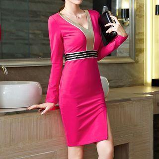 Long-Sleeve Paneled Sheath Party Dress 1046879740