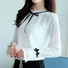 Long-Sleeve Lace-Panel Ribbon Top 1596