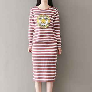 Set: Striped Knit Top + Knit Skirt 1062318932