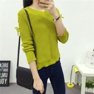 Side Slit V-Neck Sweater 1054248478