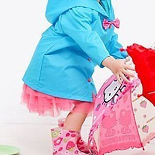 Image of Kids Bow Hooded Raincoat