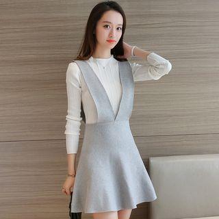 Set: Plain Long Sleeve Knit Top + Knit A-Line Pinafore Dress 1054669287