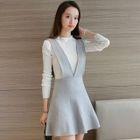Set: Plain Long Sleeve Knit Top + Knit A-Line Pinafore Dress 1596