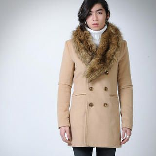 Buy deepstyle Detachable Fur Trim Coat 1021889406