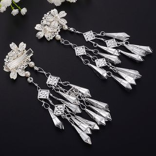 Image of Retro Fringed Hair Clip 1 Pair - One Size