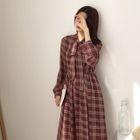 Long-Sleeve Chiffon Plaid Midi Dress 1596
