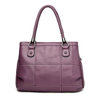 Braid Strap Faux-Leather Handbag 1060127028