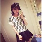 Set: Short-Sleeve Paneled Striped Top + Plain A-Line Skirt 1596