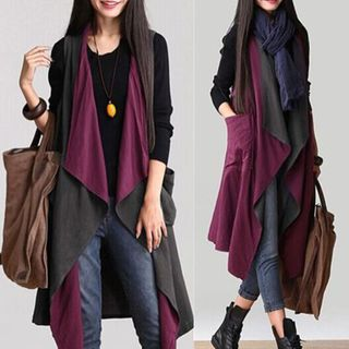 Image of Color Block Reversible Vest Purple & Gray - One Size