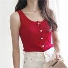 Sleeveless Button-Front Knit Top 1596