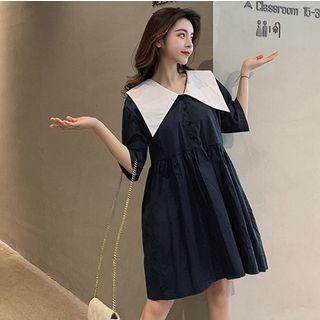 Short-sleeve | Babydoll | Dress | Navy | Blue | Mini | Size | One