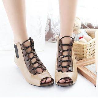 Buy KAWO Peep-Toe Lace-Up Sandals 1022898445