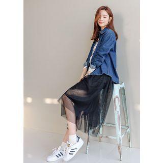 Band-Waist Long Tulle Skirt 1057050476