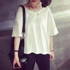 Elbow-Sleeve V-Neck T-Shirt 1596
