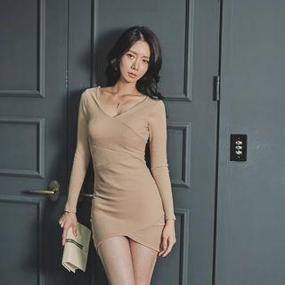 Deep V-Neck Ribbed Mini Bodycon Dress 1062332785