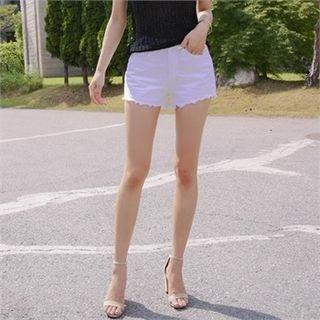 Fray-Hem Cotton Shorts 1060284543