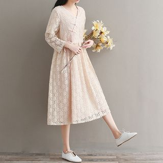 Long-Sleeve Chinese Knot Button A-Line Lace Dress 1064696464