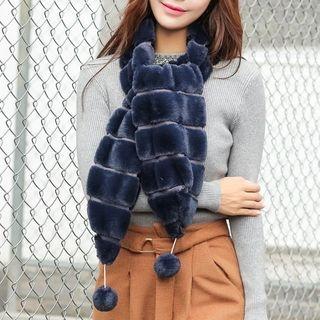 Pompom Faux Fur Scarf 1055136951