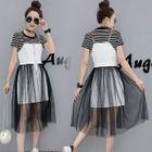 Set: Stripe Short-Sleeve T-shirt + Spaghetti Strap Dress 1596
