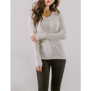V-Neck Ribbed Knit Top 1062810866