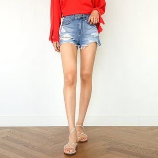 Distressed Washed Denim Shorts 1060641260