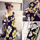 Floral Print Cutout Shoulder Babydoll Dress 1596