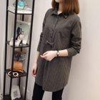 Bow-Accent Stripe Long Shirt 1596