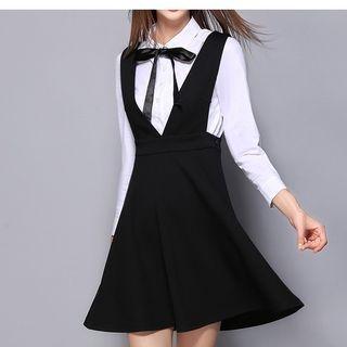 Set: Tie Neck Shirt + Pinafore A-Line Dress 1056067467