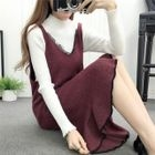 Spaghetti Strap Lace-Trim Knit Dress / Long-Sleeve Top 1596