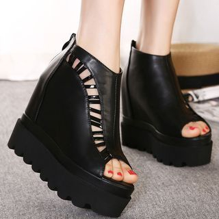Cutout Peep Toe Platform Wedge Booties 1050661450