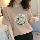 Sequined Smiley Short-Sleeve T-shirt 1596