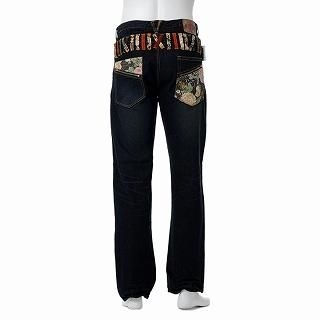 Picture of Buden Akindo Double Waistband Printed Trim Jeans 1012615497 (Buden Akindo, Mens Denim, Japan)