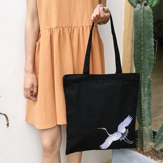 Image of Crane Embroidered Canvas Tote Bag